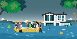 Flood rescue. The rescue team brought the boat to help flood victims stock illustration