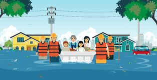 Flood rescue. Teams are helping children and women out of floods royalty free illustration