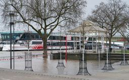 Flood on Rhine river, Cologne, Germany Stock Photos