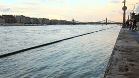 Flood. On the river Danube stock footage