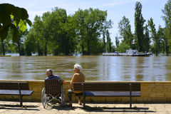 Flood on river Elbe, Germany 2013,senior couple Stock Images