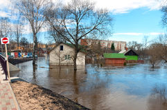 Flood. River flood inundated the city home stock image