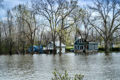 Flood. River flood inundated a house beside a river royalty free stock photos