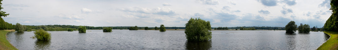 Flood on the river Oder Stock Images