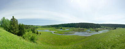 Flood of the river. Panorama. Royalty Free Stock Photos