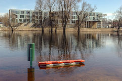 Flood on river at springtime Stock Photography