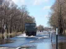 Flood on road in Lithuania Royalty Free Stock Photos