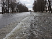 Flood on road, Lithuania Royalty Free Stock Photos