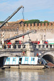 Flood in Rome. Flood damage in the historical bridge of castel sant\'angelo Royalty Free Stock Photos
