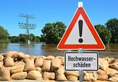 Flood. Sandbags and a warning sign on the banks of the Elbe River during the flood in Magdeburg Stock Image