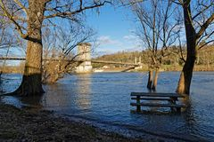 Flood of Saone river in Couzon. The flood of Saone river in Couzon near the bridge Royalty Free Stock Image