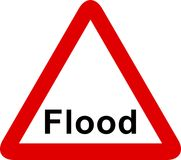 Flood sign. Flood warning sign isolated on a white background Stock Images