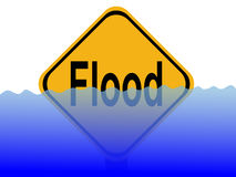 Flood sign with water. American flood sign with rising water level illustration Stock Photos