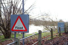 Flood sign. Stock Photos