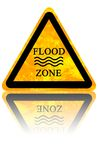 Flood sign. Yellow flood sign isolated on a solid white background Royalty Free Stock Image