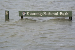 Flood, Submerged Coorong National Park Sign, Hindmarsh Island, S Royalty Free Stock Image