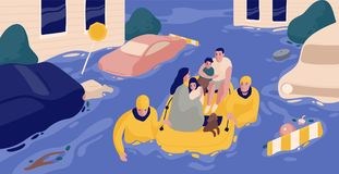 Flood survivors sitting in inflatable boat rescued by pair of rescuers. Family saved from flooded area or town. People. And natural disaster. Colorful vector stock illustration