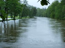 Flood swollen river. South Bohemia stock image