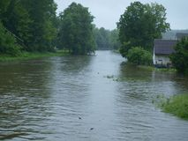 Flood swollen river. South Bohemia royalty free stock photography