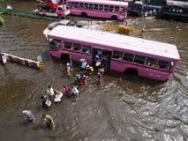 FLOOD THAILAND 2011. Bus navigating through the flood in Bangkok, Thailand Royalty Free Stock Images