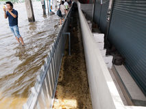 FLOOD THAILAND 2011. Flood protection in Bangkok, Thailand Royalty Free Stock Images