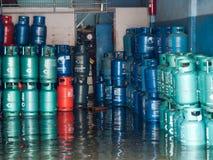 FLOOD THAILAND 2011. Gas tank in flood bangkok, Thailand Royalty Free Stock Photos
