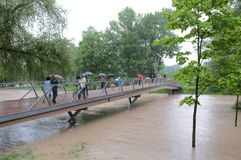 Flood tourism Stock Photo