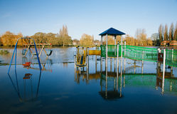 Flood in UK, river Thames in Reading Stock Photo