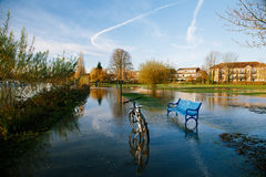 Flood in UK, river Thames in Reading Stock Images