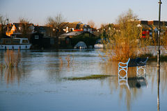 Flood in UK, river Thames in Reading. Town royalty free stock image