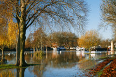Flood in UK, river Thames in Reading. Flood in UK, river Thames in Caversham Reading royalty free stock images