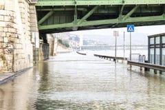 Flood under the Freedom Bridge Royalty Free Stock Photography