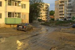 Flood in Varna Bulgaria June 19. These are the consequences of record rain that poured over the city of Varna on June 19th, 2014.tidal wave of tons of mud,water royalty free stock photography