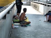 Flood victim man become homeless Stock Image