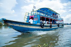 Kampong Phluk floating village in Cambodia stock images