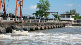 Flood wall and pump outlets in Thailand Stock Photos