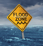 Flood Warning. Concept with a yellow traffic sign flooded with water on a dangerous dark stormy cloud sky as a symbol of insurance risk and weather hazards as a stock illustration