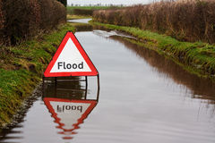 Flood warning sign. On a flooded country road royalty free stock photography