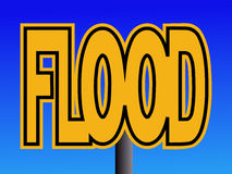 Flood warning sign. Overlapping Flood text warning sign on blue Stock Photo