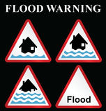 Flood warning sign collection Royalty Free Stock Photos