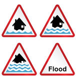 Flood warning sign collection Royalty Free Stock Photography