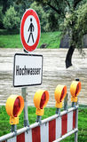 Flood warning sign Royalty Free Stock Photos