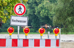 Flood warning sign. In germany royalty free stock images