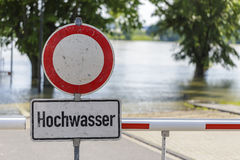 Flood warning sign in Germany Stock Photos