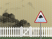 Flood warning sign Royalty Free Stock Image
