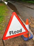 Flood warning traffic sign UK. Traffic sign on countryside road Stock Photography