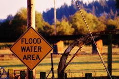 Flood water area. Sign, at sunset Stock Photography