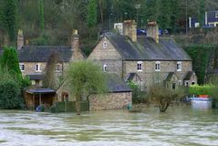 Flood water in Ironbridge, UK royalty free stock photography