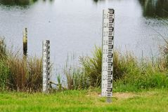 Flood water level indicators. Close up view of flood water level indicators royalty free stock photography