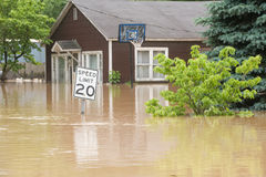 Flood waters. Overtake a town in Indiana stock images